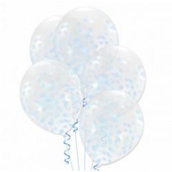 Balony z konfetti, niebieskie, 5szt