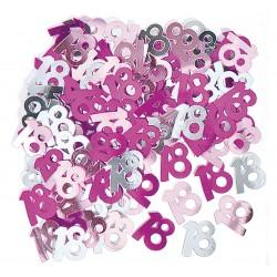 """Konfetti foliowe """"18"""", różowe"""
