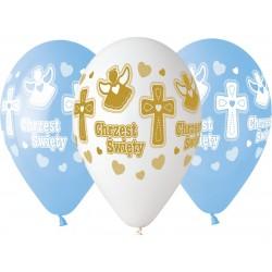 Balony gumowe, Chrzest chłopca, 13 cali /33 cm - 5 szt.