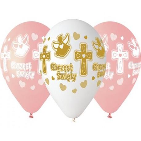 Balony gumowe, Chrzest dziewczynki, 13 cali /33 cm - 5 szt.