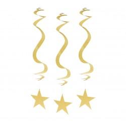 """Dekoracja wisząca """"Brokatowe Gwiazdy"""", złota, 3 szt."""