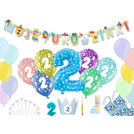 Dekoracje Na Urodziny 2 Latka Balony świeczka Ozdoby Partyszop