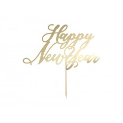 Topper na tort Happy New Year, złoty, 24cm