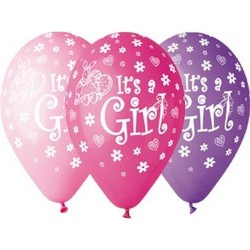"Balony gumowe Its a Girl, 12"" / 5 szt."