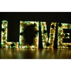 Litery LED LOVE kwiatowe, wynajem