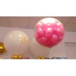 Balon strzelający z latającymi balonikami, metrowy na hel