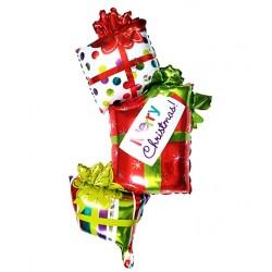 """Balon foliowy prezenty z napisem """"Merry Christmas"""""""