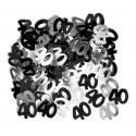 Konfetti 40 urodziny, czarno-srebrne