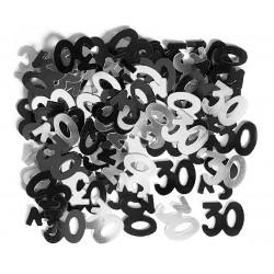 Konfetti 30 urodziny, czarno - srebrne