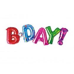 Balon foliowy kolorowy napis B-DAY