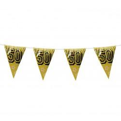 """Girlanda złota, flagi holograficzne """"50"""""""