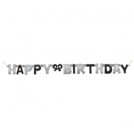 Baner urodzinowy - Happy Birthday, czarno-srebrny