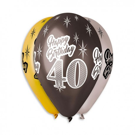 Baloy 40, złoto-czarno-srebrne, 6szt, 12''