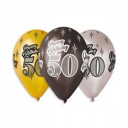 Baloy 50, złoto-czarno-srebrne, 6szt, 12''