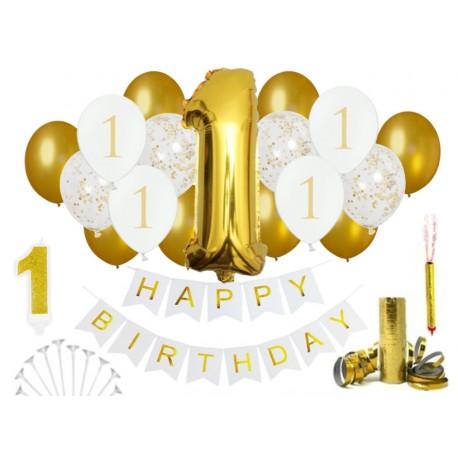 Złote Dekoracje Na 1 Urodziny Roczek Balony Ozdoby Partyszop