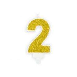 Świeczka urodzinowa Cyferka 2, złoty