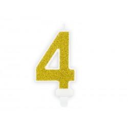 Świeczka urodzinowa Cyferka 4, złoty