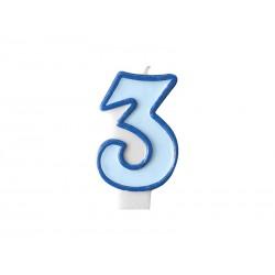 Świeczka urodzinowa Cyferka 3, niebieski