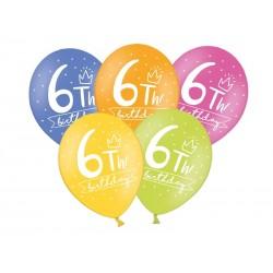 Balony 30cm, 6th! birthday, 1szt.