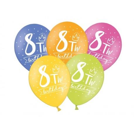 Balony 30cm, 8th! birthday, 1szt.