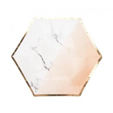 "Talerzyki papierowe ""Colour Block Plate - Peach"", 20 cm, 8 szt."
