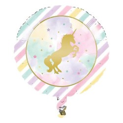 """Balon foliowy 18"""", Złoty Jednorożec"""