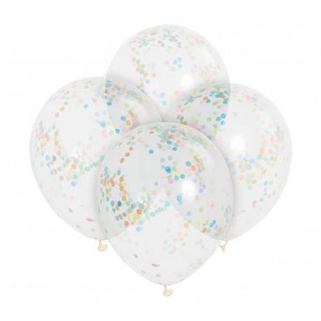 """Balon 12"""" z kolorowym konfetti, transparentny, 6 szt."""