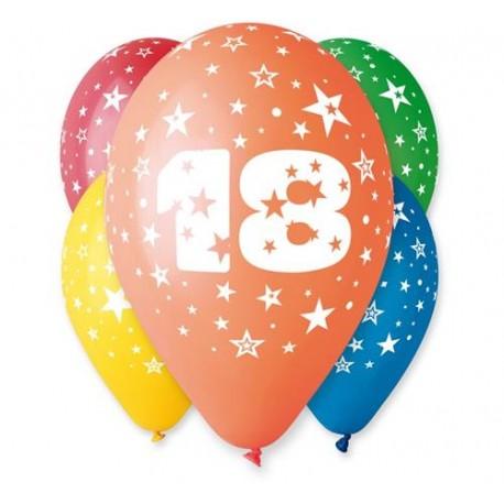 """Balon 12"""" z nadr. """"18"""", pastel mix / 5 szt."""