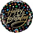 "Balon foliowy 18"" HAPPY BIRTHDAY GOLD"
