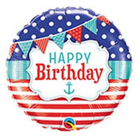 """Balon foliowy 18"""", """"Happy Birthday Natical & Pennants"""""""