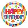 "Balon foliowy 18"", ""Happy Birthday Stripes & Stars "" holograficzny"