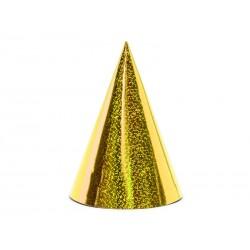 Czapeczki holograficzne, złoty, 10cm (1 op. / 6 szt.)