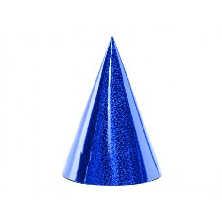 Czapeczki holograficzne, niebieski, 10cm (1 op. / 6 szt.)
