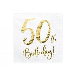Serwetki 50th Birthday, biały, 33x33cm (1 op. / 20 szt.)
