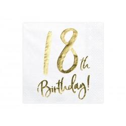 Serwetki 18th Birthday, biały, 33x33cm (1 op. / 20 szt.)
