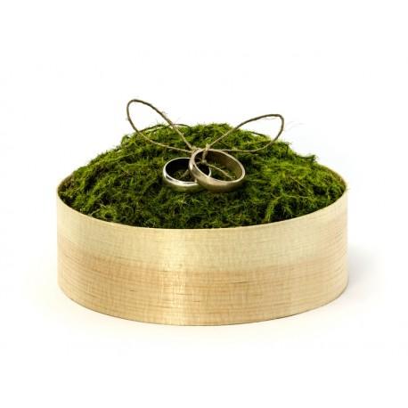 Drewniane pudełko pod obrączki z mchem, 12cm