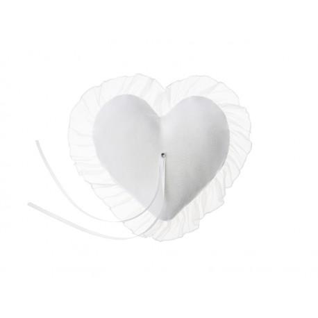 Poduszka pod obrączki Serce, biały, 13x13cm