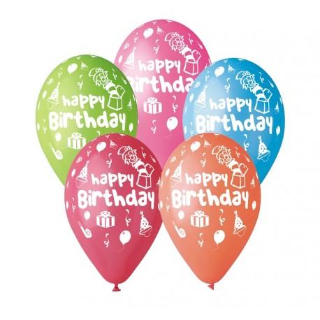 "Balony gumowe ""Happy Birthday, 12"" / 5 szt."