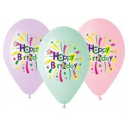 Balony gumowe Happy Birthday, 33cm/ 5 szt.
