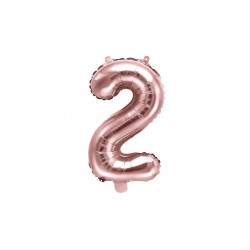 """Balon foliowy Cyfra """"2"""", 35cm, różowe złoto"""