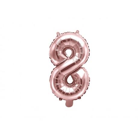"""Balon foliowy Cyfra """"8"""", 35cm, różowe złoto"""
