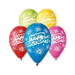 Balony gumowe Happy Birthday fajerwerki, 30cm/ 5 szt.