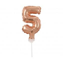 """Balon foliowy 13 cm na patyczku """"Cyfra 5"""", różowo-złota"""