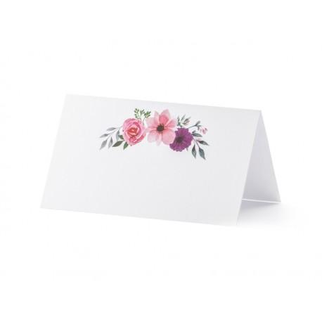 Wizytówki na stół - Kwiaty, 9,5x5,5cm