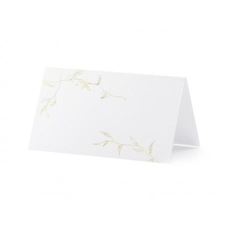 Wizytówki na stół - Gałązki, złoty, 9,5x5,5cm