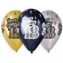 """Balony gumowe """"Happy Birthday 18"""", metaliczne, 12"""" / 6 szt."""