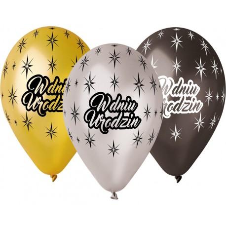"""Balony gumowe """"W Dniu Urodzin"""", metaliczne, 12"""" / 6 szt."""