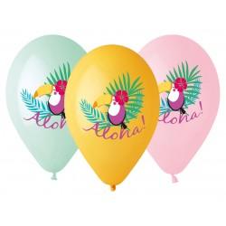 Balony gumowe Tukan - Aloha!, 33cm/ 5 szt.