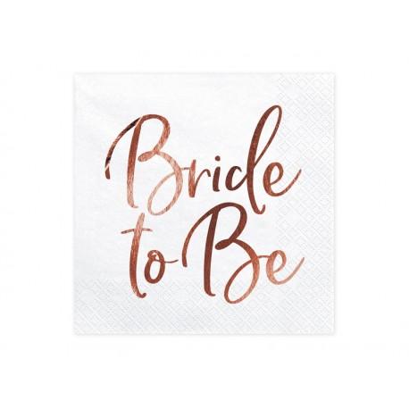 Serwetki Bride to Be, różowe złoto, 33x33cm