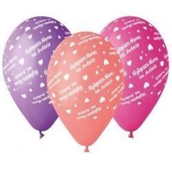 """Balony gumowe Najlepsza Mama, pastelowe, 12"""" / 5 szt."""